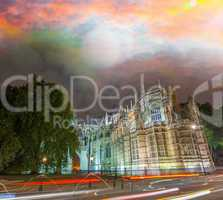 London. Westminster Palace, exterior view with a beautiful sunse