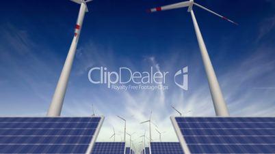 Through solar panels and windmills - loop