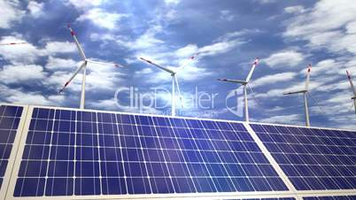 Solar panels and wind turbines passing by