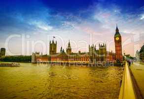 Amazing view of Houses of Parliament at dusk, London