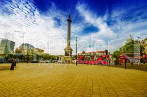 LONDON - SEPTEMBER 28, 2013: Modern red double decker bus in Tra