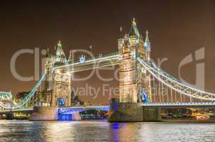 Awesome night view of Tower Bridge with river Thames reflections