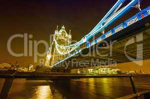 Night view of Tower Bridge from Thames riverwalk - London
