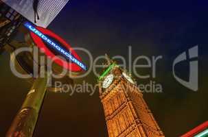 LONDON, UK - SEPTEMBER 28, 2013: Night view of London Undergroun