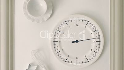 Animation of watch running in timelapse at kitchen entertainment, panoramic