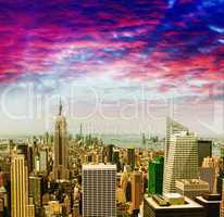 Awesome aerial view of Midtown Manhattan against sunset sky