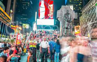 NEW YORK CITY - JUNE 12, 2013: Night view of Times Square lights