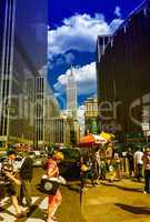 NEW YORK CITY - JUNE 14, 2013: Tourists walk along city streets