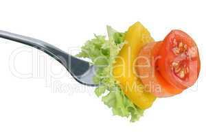 Gesunde Ernährung vegetarisch oder vegan Salat essen mit Gabel