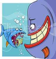 bigger fish saying cartoon illustration