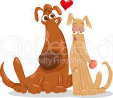 dogs in love cartoon illustration