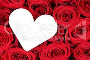 Rote Rosen mit Herz als Zeichen der Liebe zum Valentinstag
