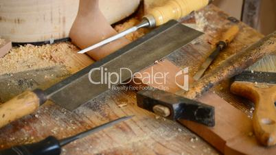 Luthier's tools in workplace
