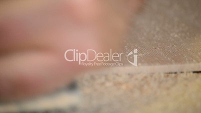 Wood planer in action close up