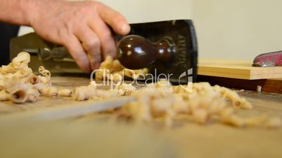 Wood planer in action