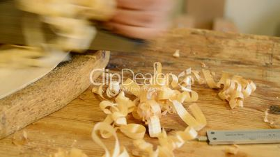 Wood shavings with wood planer, close up