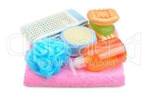 Towel, soap, shampoo and sponge