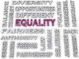 3d image Equality issues concept word cloud background