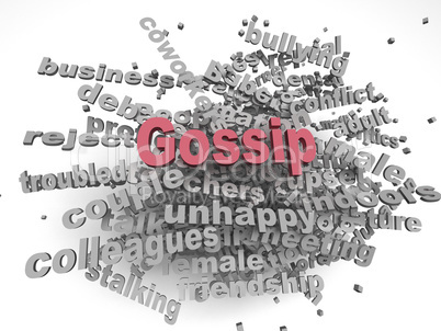 3d image Gossip issues concept word cloud background