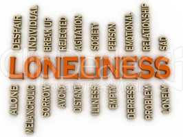 3d imagen Loneliness issues concept word cloud background
