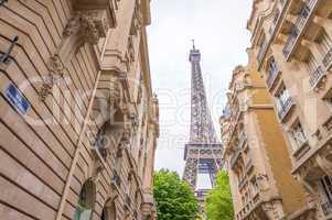Eiffel Tower from Rue Buenos Ayres - Paris