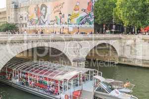 PARIS - JULY 21, 2014: Bateau Mouche on the Seine river. Bateaux