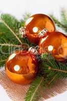 Shiny bright copper colored Christmas balls