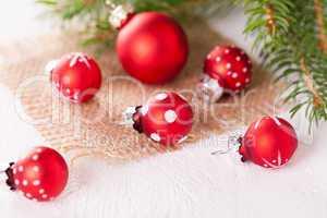 Pretty red polka dot Christmas bauble