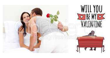 Composite image of husband giving a rose and a kiss to his beaut