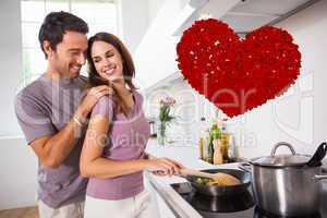 Composite image of woman preparing food at the stove