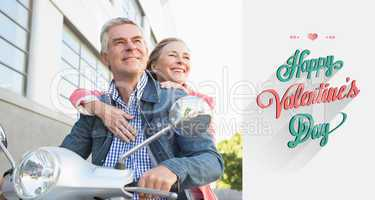Composite image of happy senior couple riding a moped