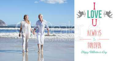 Composite image of happy couple walking barefoot on the beach