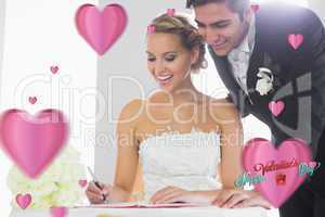 Composite image of happy young couple signing wedding register