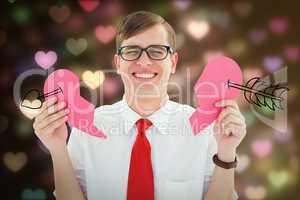 Composite image of broken hearted geek