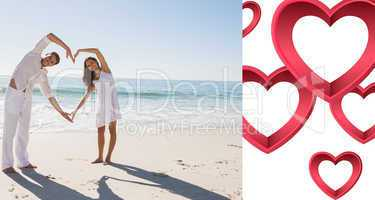 Composite image of loving couple forming heart shape with arms