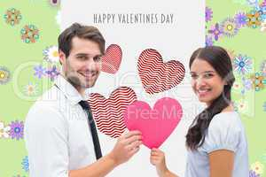 Composite image of pretty brunette giving boyfriend her heart