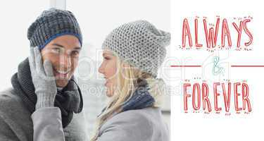 Composite image of cute couple in warm clothing hugging