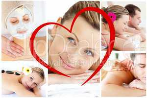 Composite image of collage of young people having relaxation tre