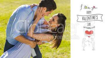 Composite image of loving and happy couple dancing in park