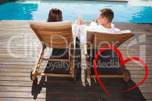 Composite image of couple toasting champagne by swimming pool