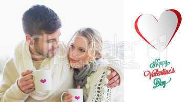 Composite image of loving couple in winter wear with coffee cups