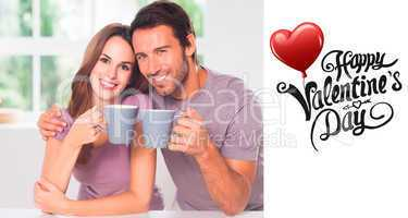 Composite image of couple looking at the camera with a coffee