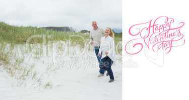Composite image of cheerful senior couple walking at beach