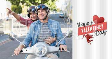 Composite image of happy mature couple riding a scooter in the c