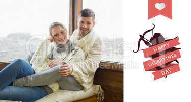 Composite image of couple in winter clothing sitting against cab