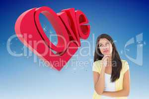 Composite image of happy casual woman thinking with hand on chin