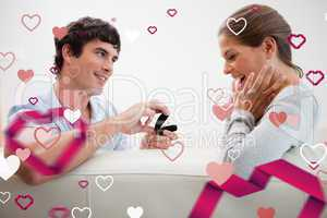 Composite image of man making a proposal of marriage