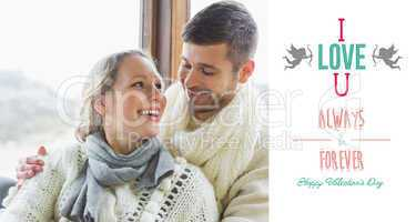 Composite image of cheerful young couple in winter clothing