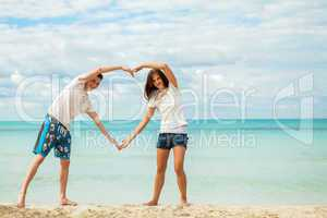 smiling young couple having fun in summer holiday
