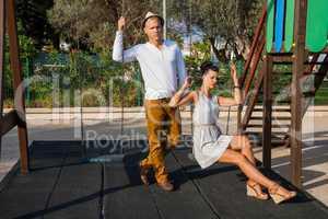Elegant trendy young couple
